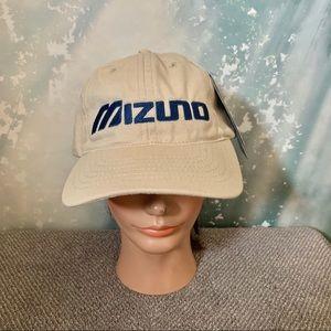 VTG Mizuno Logo Embroidered Hat Khaki Strap back